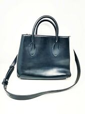 Zara Basics Black Cream Women Leather Bag Purse Satchel