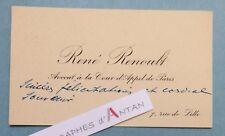 CDV autographe René RENOULT Avocat homme politique Résistant Député Haute Saone