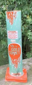 """Vintage SPACE AGE MFG Fireworks tube No 5 Gold Comet-used container 10.5"""""""