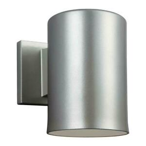 Sea Gull Lighting Outdoor Cylinder Collection Brushed Nickel LED Wall Lantern
