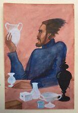 Aquarelle Gouache Portrait d'Homme Amphore Vase PIERRE-HENRI BOUSSARD Sard #40