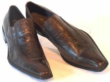 JUMP Mens Size 11 M Crinkled Brown Leather Extended Clipped-Toe Dressy Slip-Ons