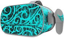 Skin Wrap for Oculus Go Folder Doodles Neon Teal
