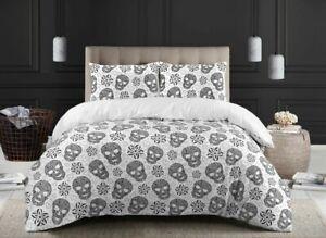 Halloween Skull Duvet Cover Set Cotton White Black Bedding Sets Double King Size