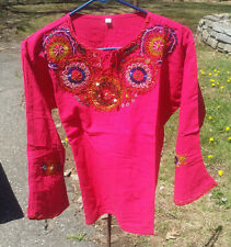 Maya Mexican Blouse Top Shirt Beaded Embroidered Flowers Chiapas Pink Medium