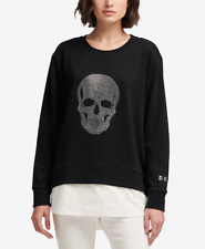 DKNY Womens Skull-Graphic Sweatshirt (Black, Medium)