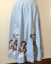 Sunny Leigh Women's Sz 10 Blue Cotton Embroidered Flare Full Skirt Modest Lined