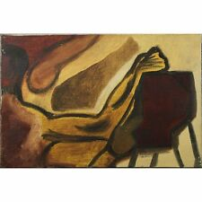 Original Signed 1960 Retro Abstract Canvas Unframed Oil Painting Figure on Chair