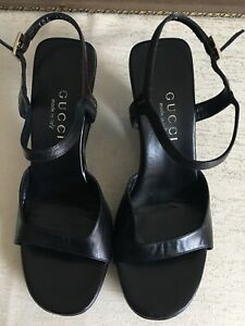 Authentic Gucci Leather Sandals/ Exc Conds/ Size 37 1/2 C/ Made In Italy