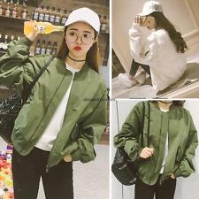 Korean Casual Womens Loose Long Sleeve Baseball Jacket Trench Short Coat Outwear