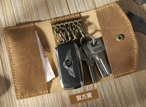 key bag case chain box genuine Cow Leather Pouch Customize handmade beige Z721