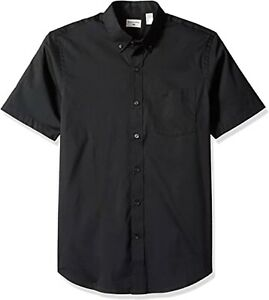 Dockers Men's Short Sleeve Button Down Comfort Flex Shirt, Black, Large