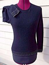 Magaschoni 100% Cashmere Crewneck Black Sweater Medium - Rhinestone Accents