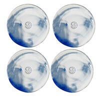 Kosta Boda Mine Serveware Decorative Salad Plate Blue Marble Design Set of 4