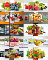 Healthy Fruits Painting Restaurant Poster Wall Art Kitchen Decor 5p Canvas Print