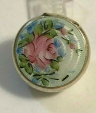 Vintage  Pink Rose White Enamel Sterling Silver Tiny Pill Trinket Box