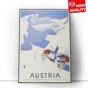Vintage AUSTRIA Skiing Classic Travel Poster Print | A5 A4 A3 A2 A1 |