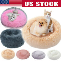 Pet Cat Dog Calming Bed Round Nest Warm Soft Plush Sleeping Bag Comfy Flufy Gift
