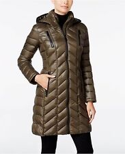 Calvin Klein Chevron-Quilted Packable Down Coat COLOR: LODEN, Size: M