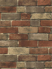 Terra Cotta, Putty Grey and Brown Extremely Detailed Brick Wallpaper BG21584