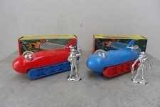 Rare Pair Plastic Space Ships Moon Explorer Car Made in Hong Kong 1950's Box