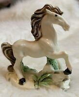 Vintage Ceramic Porcelain White Horse Figurine Running - Made in Japan