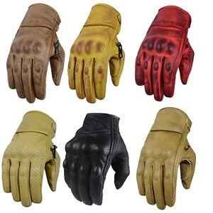 Motorcycle Leather Cruiser Custom Cafe Racer Retro Motorcycle Biker Gloves