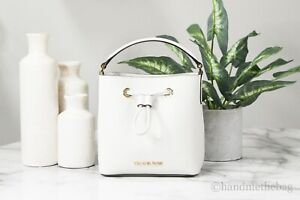 Michael Kors Suri Saffiano Leather Optic White Bucket Crossbody Handbag Purse