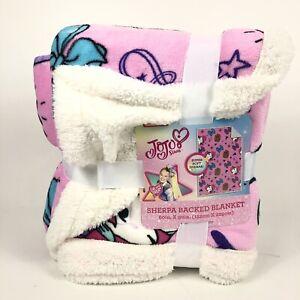 "JoJo Siwa 'Hearts and Bows' Sherpa Backed Blanket Size 60""x90"" Huge Thick"