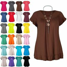 Ladies Women Short Sleeve Peplum Ruffle Frill With Necklace Round Neck Gypsy Top