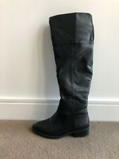 Zara Knee High Faux Pu Leather Black Winter Boots Uk 4 Eu37