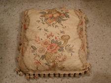ANTIQUE VINTAGE FABRIC Designer Throw Pillow Beige Rose Green w/ Tassels