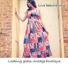 Vintage Americana Red White And Blue Stars And Stripes Patriotic Boho Ooak Dress