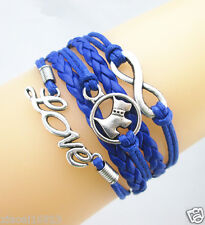 Infinity/Love/Cute Dog Pets Charms Leather Braided Friendship Bracelet -Blue