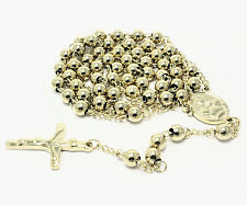 Rosary Yellow Stainless Steel Chain Jesus Cross 29 Inches 6mm Beaded Necklace