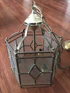 Vtg Mid Century Modern Glass Brass Pendant Light