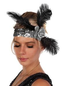 Flapper 1920's Fashion Headband Sequin Rose Feathers Costume Gatsby Party SILVER
