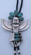 HUGE Navajo sterling Turquoise Coral winged eagle Kachina 3D bolo tie hallmarked