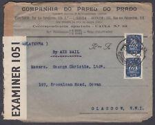 1943 Portugal Airmail / Censor; Lisbon B/S to Govan, Glasgow, Scotland