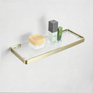 Luxury Stainless Steel Bathroom Shelf Glass Single Tier Bath Shelf Brushed Gold
