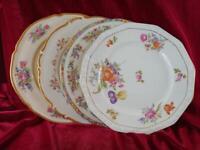 4 Vintage Mismatched China Dinner Plates Gold Floral Cottage Chic Garden  211