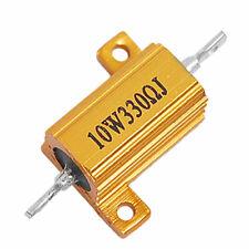 10w Power 5 330 Ohm Aluminum Casing Resistor Gold Tone