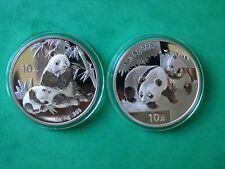 LOT 2 COINS CHINA 10 YUAN 1 OZ SILVER 999 PANDA BU YEAR 2007 2008 GREAT STATE