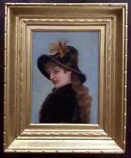 Antique Vintage Oil Painting Portrait of French Victorian Woman Framed Art