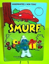 Vtg SMURF Peyo Schleich RARE Romantic Flowers Present Gift NEW Figure UNPUNCHED