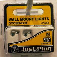 NEW N Woodland Scenics JP5658 Just Plug Wall Mount Gooseneck Lamps 2 Pk