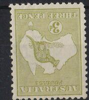 K1005) Australia 1915 3d Olive Kangaroo 3rd wmk Die I variety 'Watermark inverte