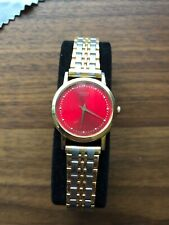 SEIKO RED DIAL GOLD TONE WOMENS WATCH RUNNING/WORKING. TWO TONE BRACELET.