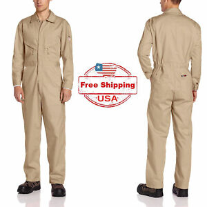 38 Tall WALLS FR Flame Resistant Industrial Contractor Workwear Tan Coverall