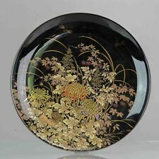 Lovely Large Japanese lacquer Dish Dragonfly Flowers Gold Hand painted M...